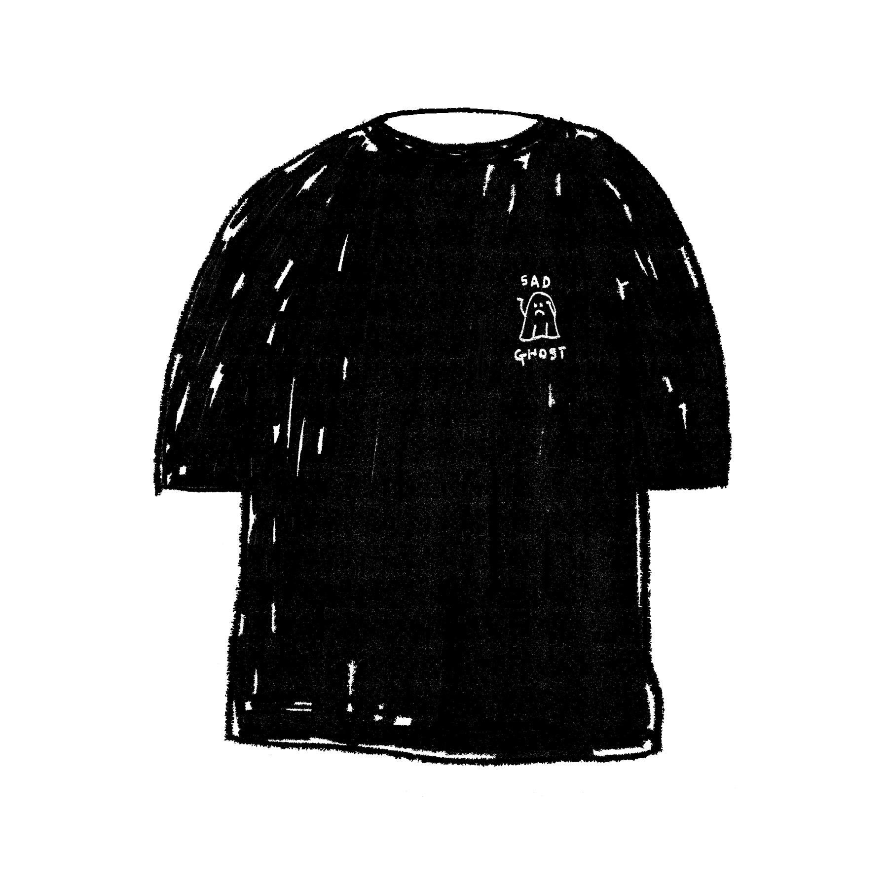 SAD GHOST 1/2 T-SHIRT BLACK