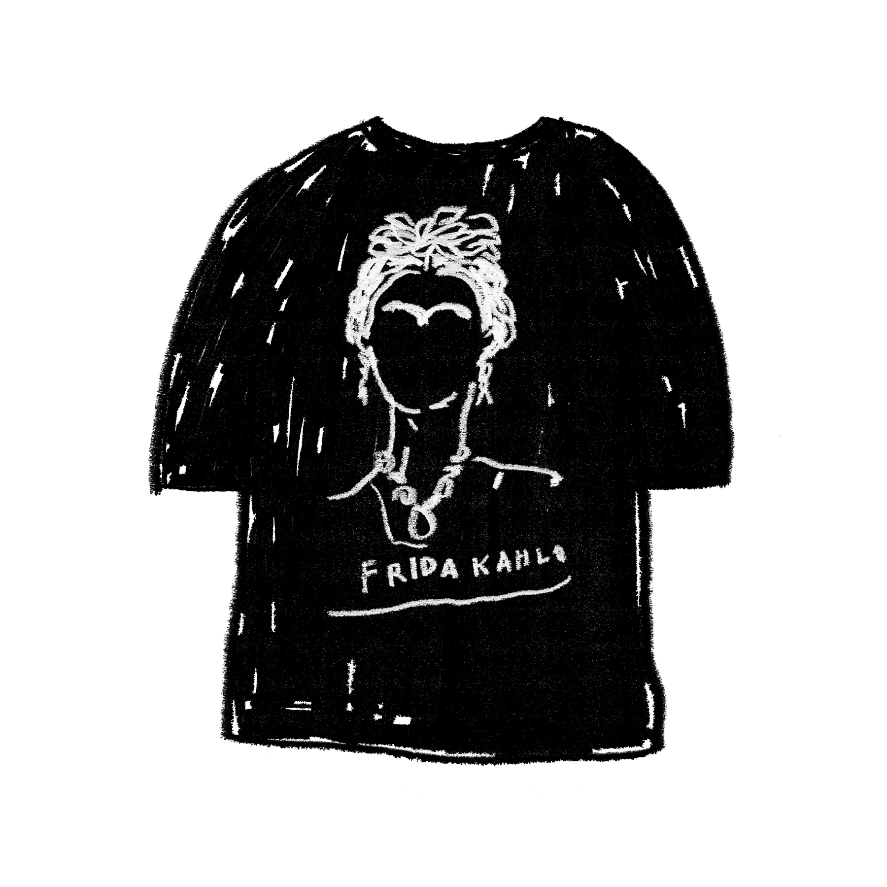 FRIDA KAHLO 1/2 T-SHIRT BLACK